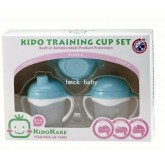 KK-15 ถ้วยหัดดื่มและดูดหลอด Kido Training Cup Set Step1-3 (9 เดือน+) สีฟ้า