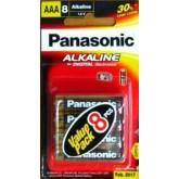 ถ่าน Panasonic Alkaline AAA แพค 8ก้อน จำนวน 6 แพค