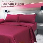 ชุดผ้าปูที่นอน Red Wine Marine  (5 ฟุต)