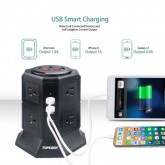 ปลั๊กไฟคอนโด 8 เต้ารับ 10A, 2200W พร้อมพอร์ต USB ชาร์จโทรศัพท์ 4 Ports, 5V 4.5A, 2.4A/Port