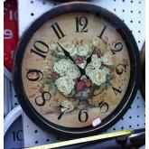 นาฬิกาแขวนติดผนัง-กลมตัดโบราณ-ดอกไม้เงียบ
