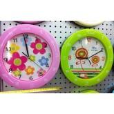 นาฬิกาแขวนติดผนัง-กลมสีสอนอังกฤษ-พื้นขาวลายดอก