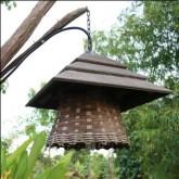 โคมไฟ Handmade หลังคาทำจากไม้สัก โคมทำจากเข่งขนมจีน รับรองไม่ซ้ำใคร เพราะเราทำเอง