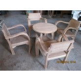 เก้าอี้แขนโค้ง  แขนอ่อน  ไม้สัก พร้อมโต๊ะกลาง