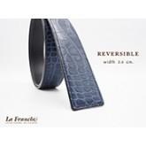 3.4 cm. Reversible Croco Blue  (Code: 34M0203)
