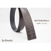 3.4 cm. Reversible Croco Matt Chocolate  (Code: 34M0206)