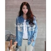T5702014 เสื้อยีนส์เวอร์ชั่นสาวเกาหลี ปกเชิ้ต (พรีออเดอร์)รอ 3 อาทิตย์หลังชำระเงิน