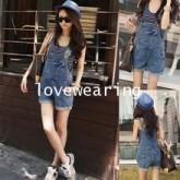 OW5711006 เอี้ยมกางเกงยีนส์สาวเกาหลี ขาสั้นน่ารัก คาบอย  (พรีออเดอร์) รอ 3 อาทิตย์หลังโอนเงิน