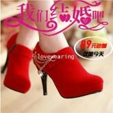 VW5711001 รองเท้าส้นสูง สีแดงสด แต่งโซ่ทอง แฟชั่นเกาหลี (พรีออเดอร์) รอ 3 อาทิตย์หลังโอนเงิน