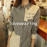 GW5712002 เสื้อเชิ้ตสาวเกาหลี ลายสก็อตขาวดำเก๋ (พรีออเดอร์)รอสินค้า 3อาทิตย์หลังโอนเงิน