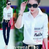 GW5712004 เสื้อเชิ้ตสาวเกาหลี พิมพ์ลายน่ารัก (พรีออเดอร์)รอสินค้า 3อาทิตย์หลังโอนเงิน