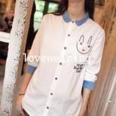 GW5712007 เสื้อเชิ้ตสาวเกาหลี สีขาวแต่งการ์ตูนน่ารัก (พรีออเดอร์)รอสินค้า 3อาทิตย์หลังโอนเงิน