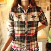 GW5712010 เสื้อเชิ้ตสาวเกาหลี ลายสก็อตแต่งการ์ตูน(พรีออเดอร์)รอสินค้า 3อาทิตย์หลังโอนเงิน