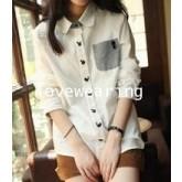 GW5712011 เสื้อเชิ้ตสาวเกาหลี สีขาวแต่งการ์ตูน(พรีออเดอร์)รอสินค้า 3อาทิตย์หลังโอนเงิน