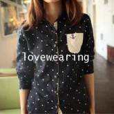 GW5712012 เสื้อเชิ้ตสาวเกาหลีลายจุดน่ารัก(พรีออเดอร์)รอสินค้า 3อาทิตย์หลังโอนเงิน