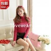 UM5712010  เสื้อยืดสาวเกาหลี คอเต่า แขนยาวสีชมพูสด (พรีออเดอร์) รอ 3 อาทิตย์หลังโอนเงิน