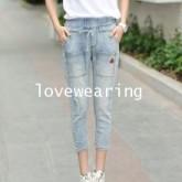 JW5806005 กางเกงยีนส์สาวเกาหลี 7ส่วนเอวยางใส่สบาย (พรีออเดอร์) รอ 3 อาทิตย์หลังโอนเงิน