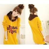 KW5908006 เสื้อกันหนาวมีฮูด ผ้าผสมขนสัตว์สาวเกาหลี (พร้อมส่ง) L สีเหลือง