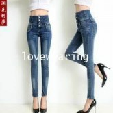 JW5906016 กางเกงยีนส์ ขาเดปเข้ารูปสีน้ำเงินแฟชั่นสาวเกาหลี (พรีออเดอร์) รอสินค้า 3 อาทิตย์หลังโอนเงิ