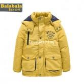 DM5909004 เสื้อโค้ทเด็กผู้ชายสีเหลือง มีฮูด ซิปหน้า ผ้าผสมขนสัตว์ อบอุ่นมาก (พรีออเดอร์) ร