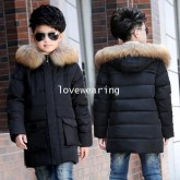 DM5909007 เสื้อโค้ทเด็กผู้ชายเกาหลี มีฮูดแต่งเฟอร์ขน ซิปหน้า ผ้าผสมขนสัตว์ อบอุ่นมาก (พรีออเดอร์) รอ