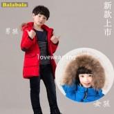 DM5909009 เสื้อโค้ทเด็กผู้ชายและหญิงเกาหลี มีฮูดแต่งเฟอร์ขน ซิปหน้า ผ้าผสมขนสัตว์ อบอุ่นมาก (พรีออเด