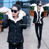 CW5909009 เสื้อโค้ทผู้หญิงหวานเกาหลี มีอฮูดกระดุมหน้า(พรีออเดอร์) รอ 3 อาทิตย์หลังโอนเงิน