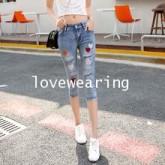 ๋JH5909007 กางเกงยีนส์สาวเกาหลีขา 5 ส่วนทรงดินสอ (พรีออเดอร์) รอ 3 อาทิตย์หลังโอนเงิน