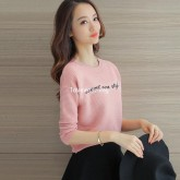 UM5909001 เสื้อยืดคอกลมไหมสีชมพูหวานแขนยาว แฟชั่นเกาหลี