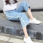 JW6009003 กางเกงยีนส์ขากว้างนักเรียนหญิงเกาหลีย้อนยุค(พรีออเดอร์) รอ 3 อาทิตย์หลังโอนเงิน