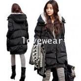 CW6010004 สีดำเสื้อโค้ทผู้หญิงผ้าฝ้ายมีฮูดซับกำมะหยี่กันหนาวเกาหลี (พรีออเดอร์) รอ 3 อาทิตย์หลังชำระ