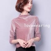 UM6011001 เสื้อยืดสาวเกาหลีคอเต่าสูงแขนยาวสีชมพู