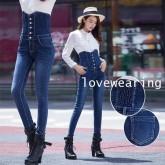 JW6012002 กางเกงยีนส์ เอวสูง ขาเดฟ เก๋ แฟชั่นเกาหลี