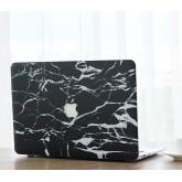 เคสMacbookลายหินอ่อนเจาะโลโก้ Black White Broken สำหรับMacbook Pro13 with and without touc