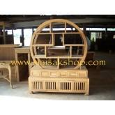 เฟอร์นิเจอร์ไม้สัก(Furniture) ตู้,ตู้โชว์,ตู้โชว์ไม้สักลูกโลก 2 ส่วน ทรงกลม