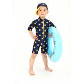 ชุดว่ายน้ำเด็กบอดี้สูท สีน้ำเงินลายดาว สวมใส่สบาย พร้อมหมวก (พรีออเดอร์)