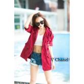 เสื้อคลุม v-chanel เสื้อแจ็คเก็ตสีแดง เท่ๆ ต้อนรับลมหนาว พร้อมส่ง