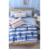 ชุดผ้าปูที่นอนพร้อมผ้าห่มนวม ฟ้าลาย