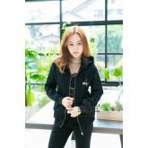 เสื้อแจ็กเก็ตเบสบอลสีดำ กระเป๋าเจาะ ผ้าญี่ปุ่นยืดเนื้อสวย