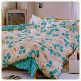 ชุดผ้าปูที่นอนพร้อมผ้าห่มนวม ดอกไม้ฟ้า-ขาว