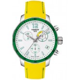 Tissot Quickster Chronograph Soccer World Cup 2014 White Dial Yellow Silicone Mens Watch T095.449.17