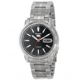 Seiko 5 Men\'s Stainless Steel Black Dial Self Winding Automatic Watch SNKL83