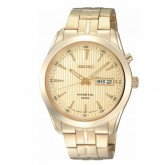 Seiko Kinetic Gold Tone Stainless Steel Day  Date SMY106P1