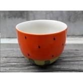 โถเซรามิคลายแตงโมส้ม 4 นิ้ว