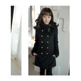 เสื้อโค้ชแฟชั่น ตัวยาว สีดำ ช่วงคอดีไซน์เก๋ แต่งด้วยกระดุมทั้ง 2 ข้าง ใส่ไปต่างประเทศได้ [MK-1197]