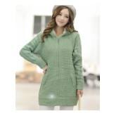 เสื้อกันหนาวไหมพรมแฟชั่นตัวยาว สีเขียวมีฮูท ด้านในเป็นขนสัตว์สังเคราะห์ [MK-1328]