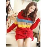 เสื้อกันหนาว เสื้อไหมพรมโทนสีแดงสลับลายด้วยสีฟ้า สีน้ำตาล และสีเหลือง  แฟชั่นเกาหลีมาใหม่ [MK-1517]