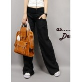 กางเกงแฟชั่น สีดำ เอวต่ำ ขายาวบาน จับจีบเล็กน้อยช่วงเอว แต่งเอวด้วยผ้ายืด สวยเก๋ๆ [MK-1456]