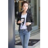 เสื้อแจ็คเก็ต เสื้อหนัง แฟชั่น พร้อมส่ง สีดำ คอจีน MK2050