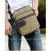 กระเป๋าแฟชั่น MMG สีกากี แฟชั่นกระเป๋าผู้ชาย ใบเล็ก ผ้าแคนวาส ทนทานใช้นาน 004157
